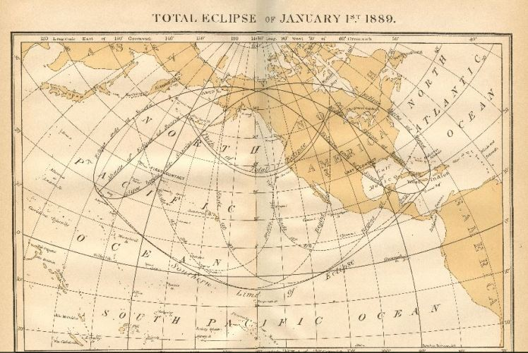 Solar Eclipse map Jan 1 1889