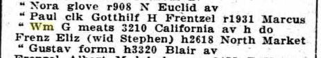 William Frentzel 1920 city directory