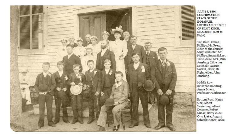 1894 confirmation class Immanuel Pilot Knob