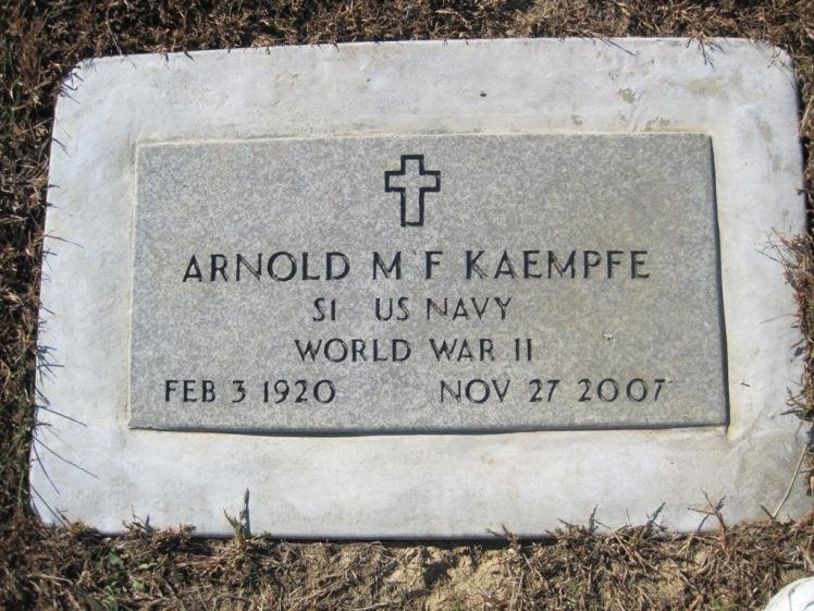 Arnold Kaempfe gravestone war plaque