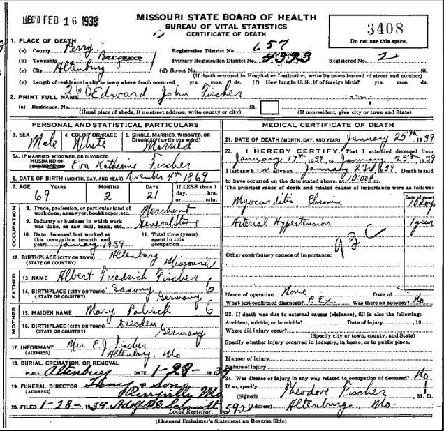 Edward Fischer death certificate