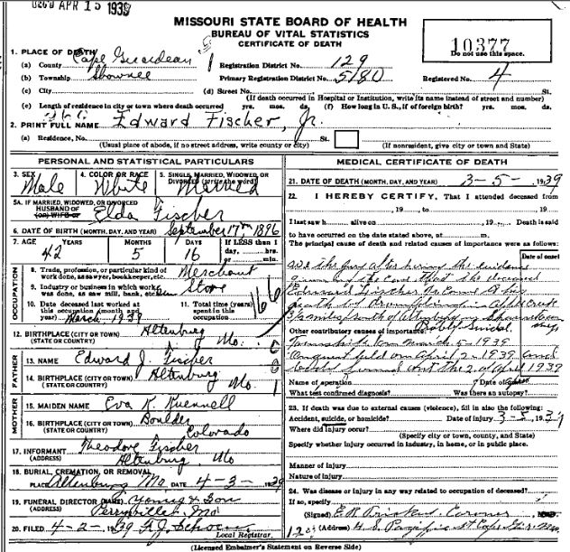 Edward Fischer Jr. death certificate