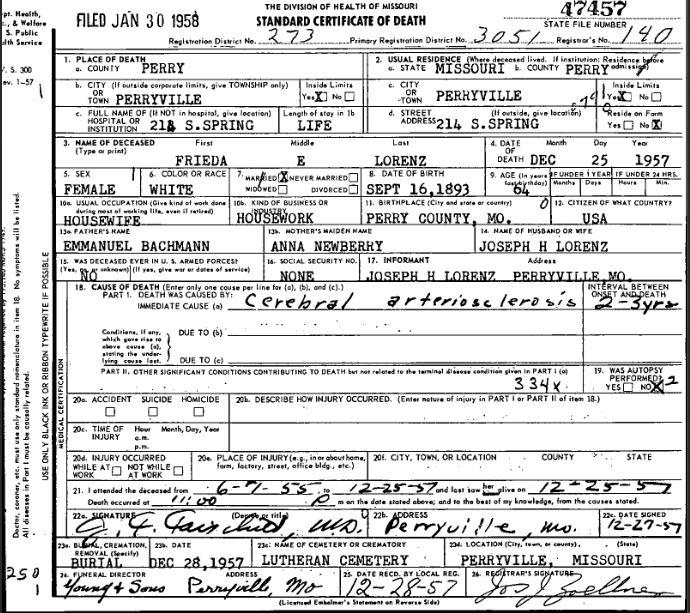 Frieda Lorenz death certificate