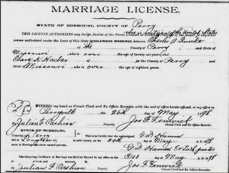 Funke Hacker marriage license