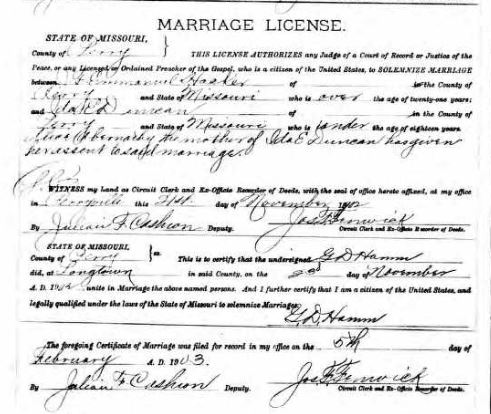 Hacker Duncan marriage license