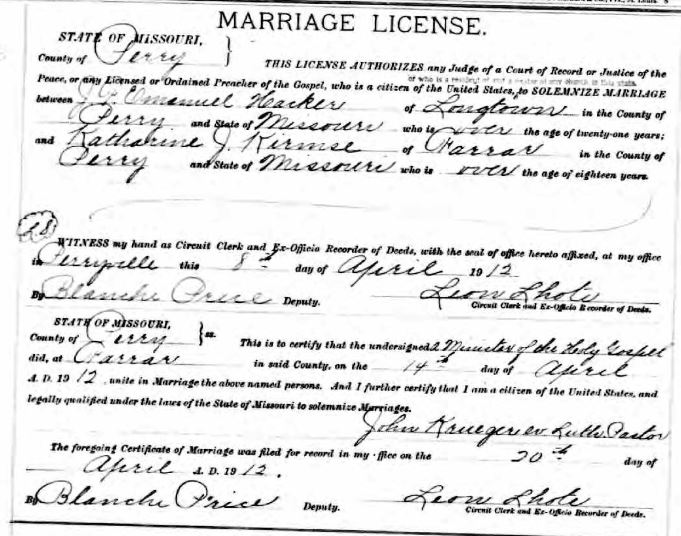 Hacker Kirmse marriage license