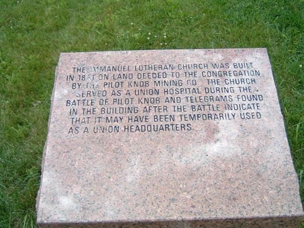 Immanuel Lutheran Pilot Knob plaque
