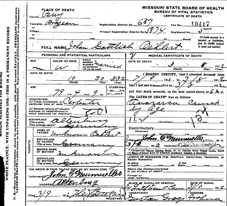 Johann Gottlieb Oehlert death certificate