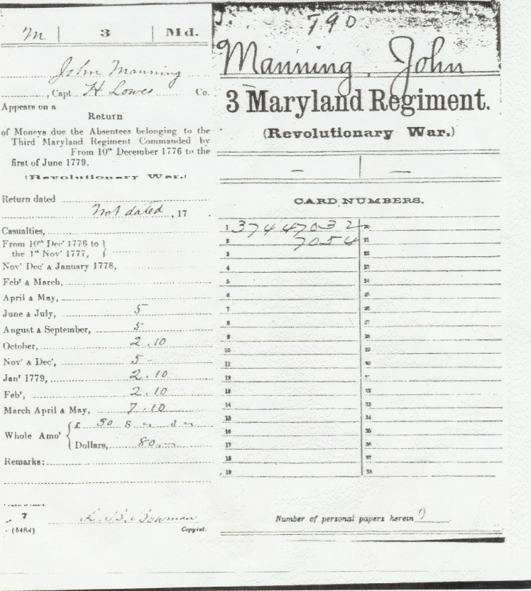 John Manning Revolutionary War Muster Roll