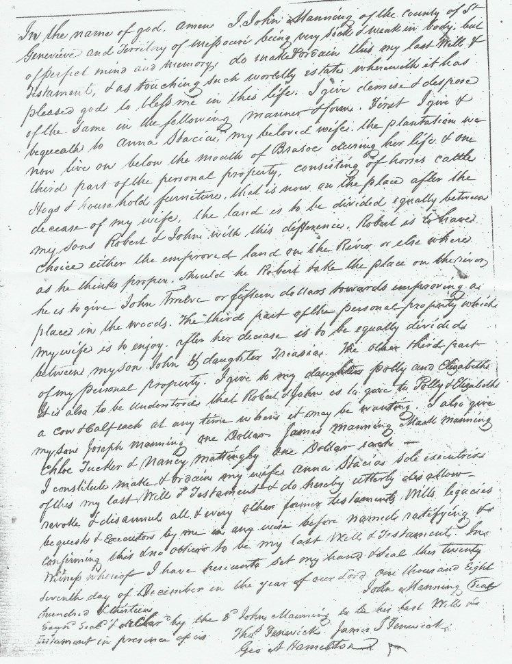 John Manning's Last Will and Testament