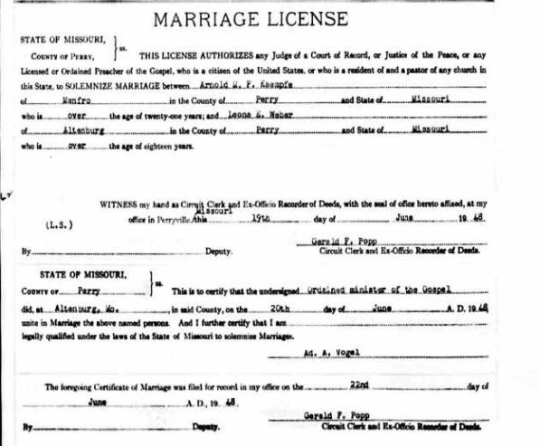 Kaempfe Weber marriage license