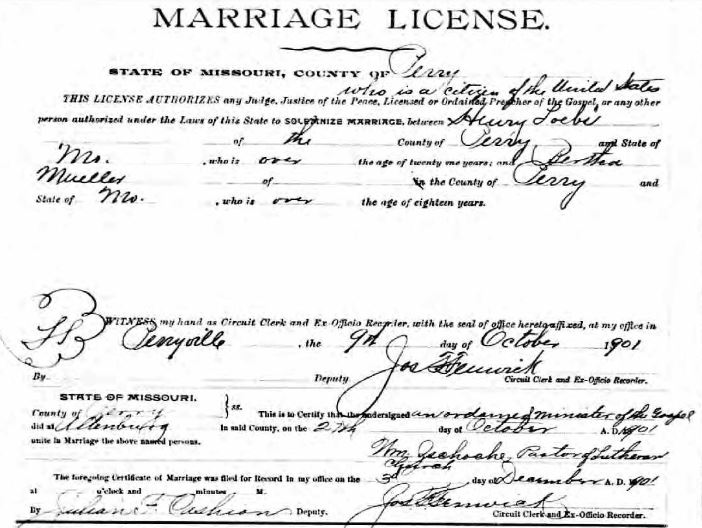 Loebs Mueller marriage license