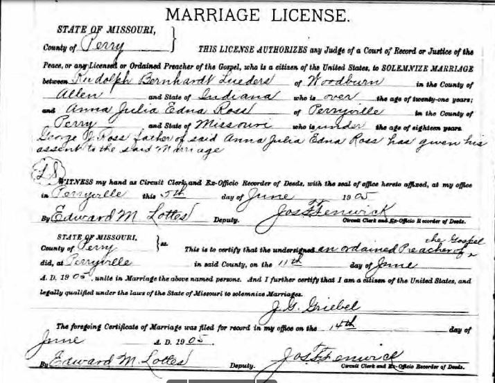 Lueders Ross marriage license