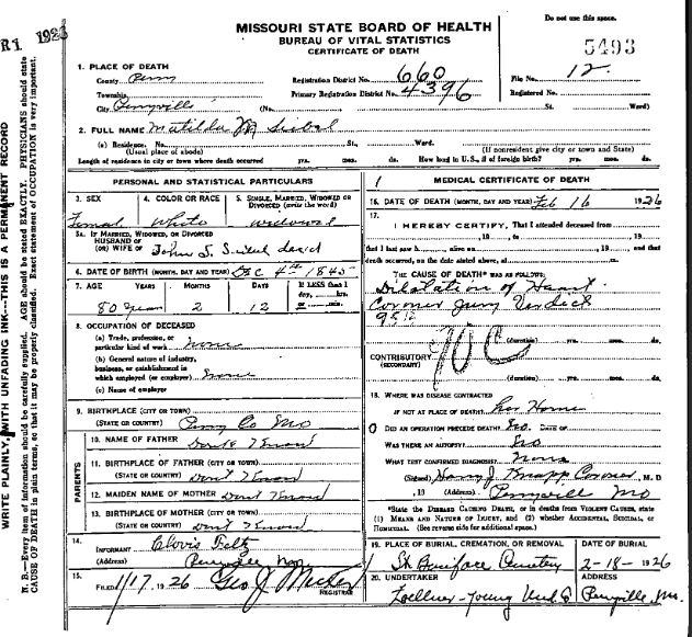 Mathilda Seibel death certificate