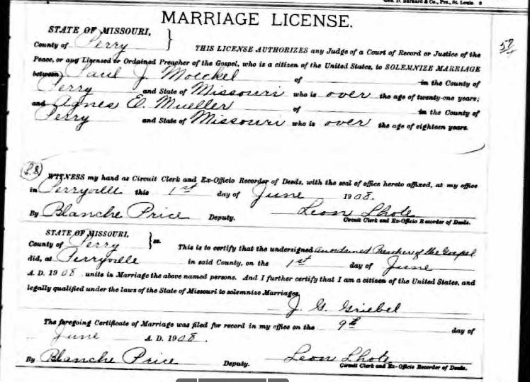 Moeckel Mueller marriage license