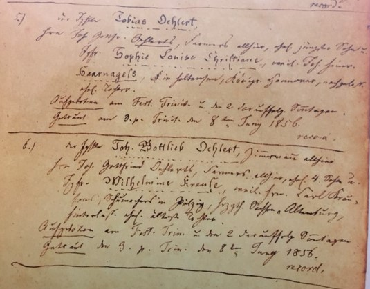 Oehlert brothers marriage record 1856