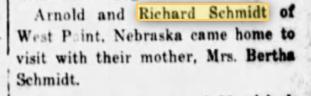 Richard Schmidt West Point NE article Perry County Sun Dec. 24, 1931