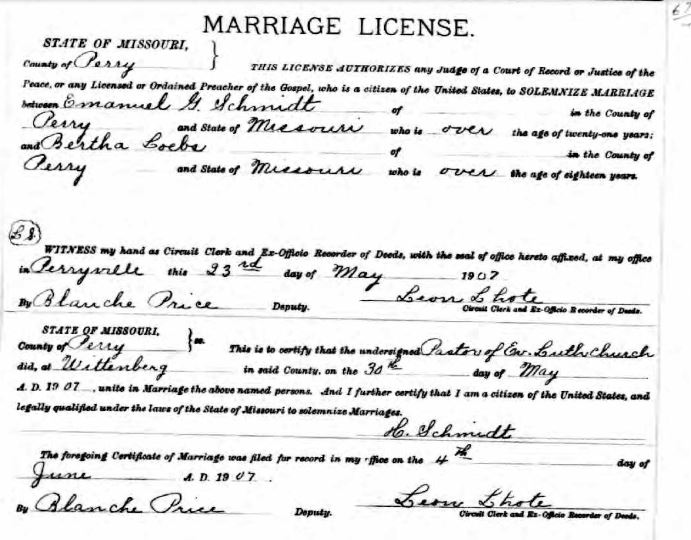 Schmidt Loebs marriage license
