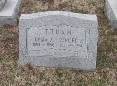 Adolph and Emma Thurm gravestone Our Redeemer Cemetery Afton