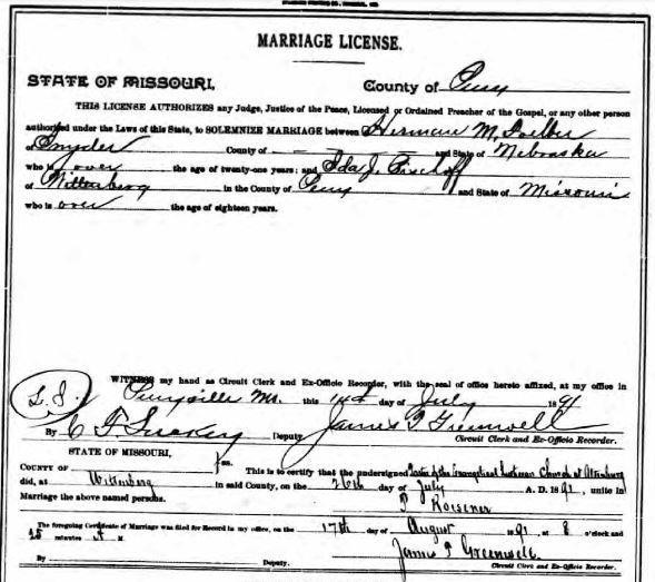 Foelber Bischoff marriage license