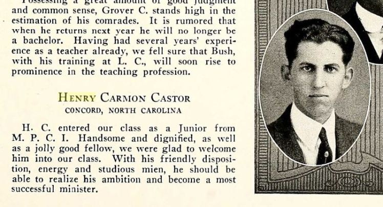 Henry Castor yearbook 1923 Lenoir Rhyne College