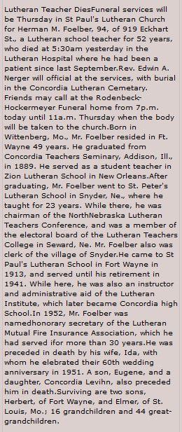Herman Foelber obituary