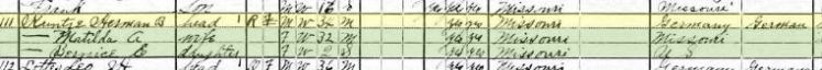 Hermann Kuntze 1920 census Altenburg MO
