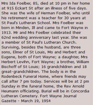 Ida Bischoff Foelber obituary