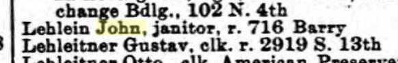 John Lehlein city directory 1895 St. Louis