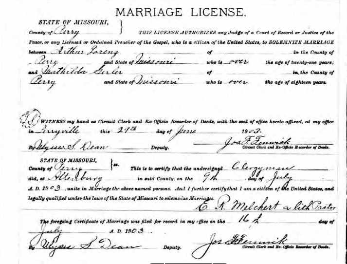 Lorenz Gerler marriage license
