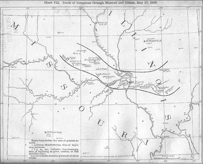 Map of 1896 tornado St. Louis