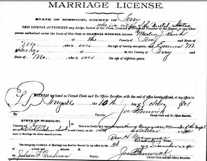 Rauh Hacker marriage license