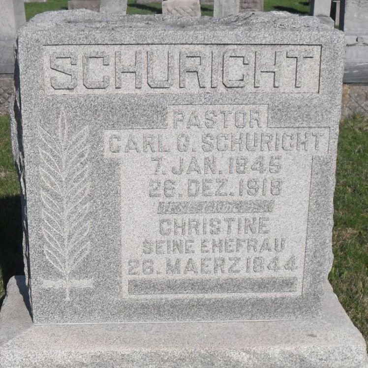 Rev. Carl Schuricht gravestone Decatur, IN