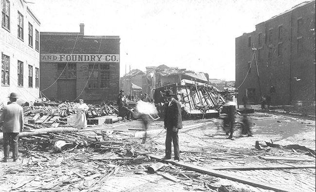 Tornado Damage streetcar 1896