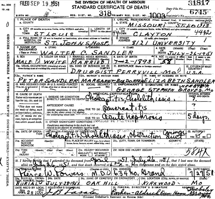 Walter Sandler death certificate