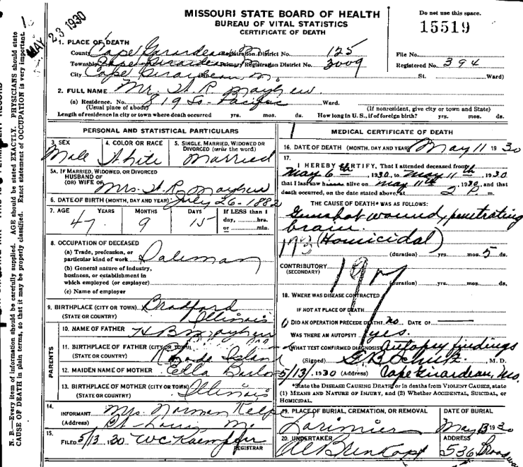 William Mayhew death certificate