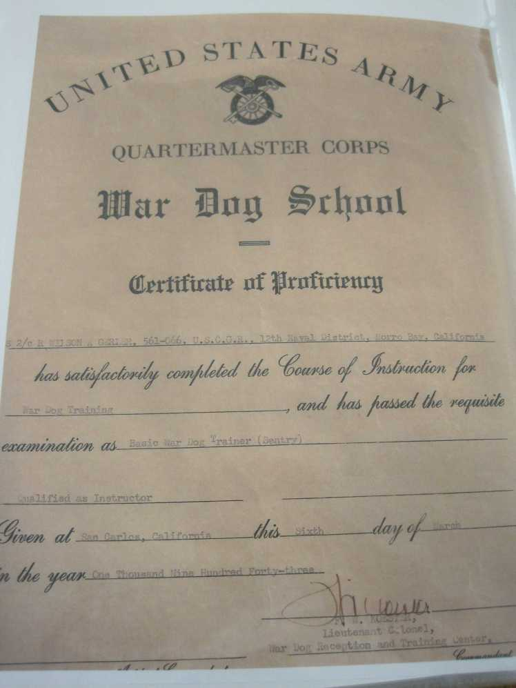 Wilson Gerler War Dog Training certificate