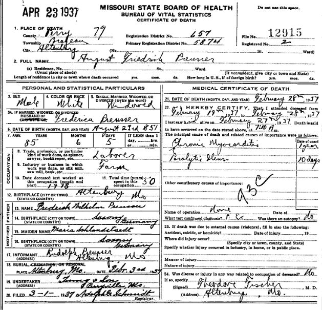 August Preusser death certificate