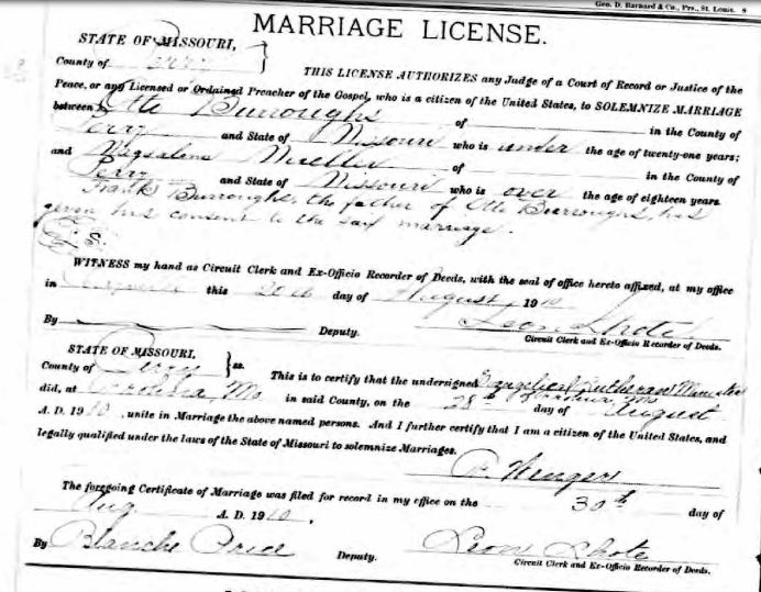 Burroughs Mueller marriage license