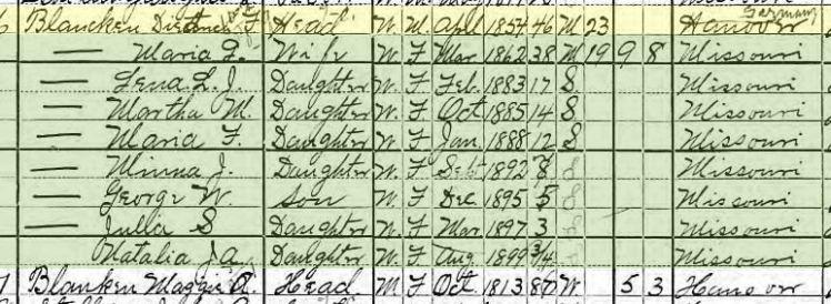 Diedrich Blancken 1900 census Frohna