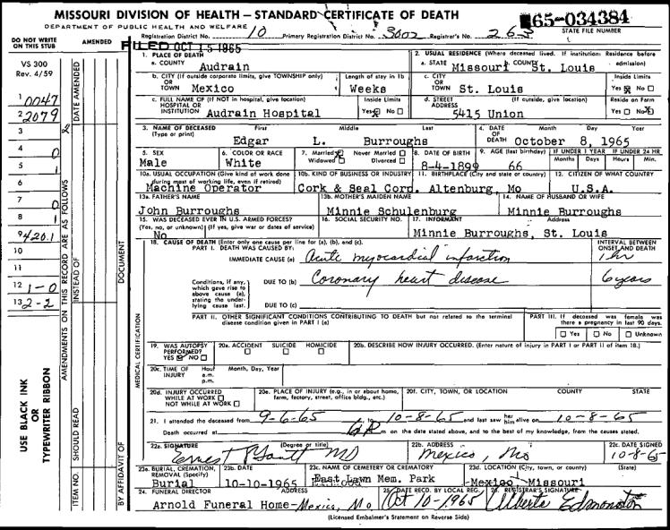 Edgar Burroughs death certificate