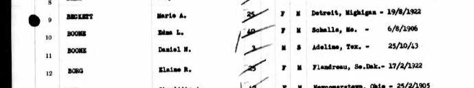 Edna Boone passenger list Henry Gibbins 1947