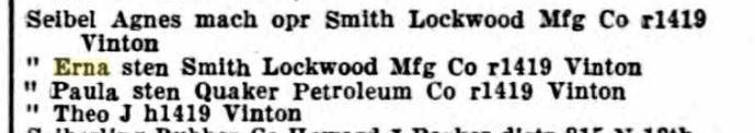 Erna Seibel Omaha city directory 1929