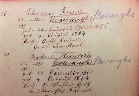 Frank and Henry Burroughs baptism record Trinity Altenburg