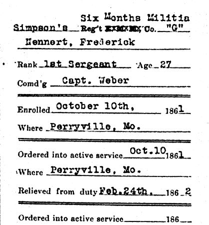 Frederick Nennert Civil War military record