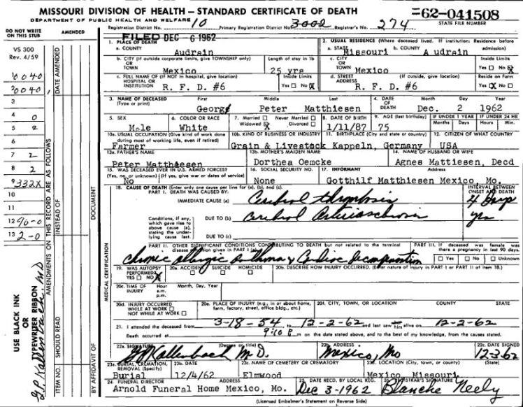 George Matthiesen death certificate