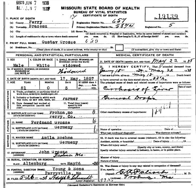 Gustav Grosse death certificate