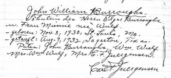 John Burroughs baptism record Sagerton TX