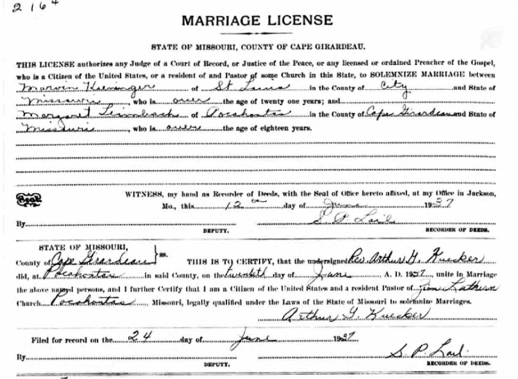 Kieninger Leimbach marriage license