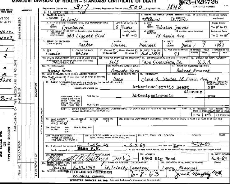 Martha Horn Nennert death certificate St. Louis